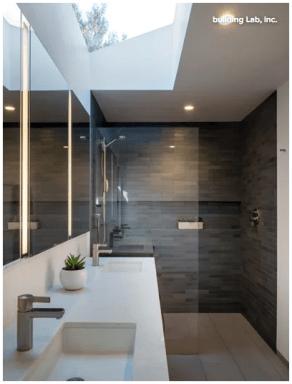 Warm gray bathroom design