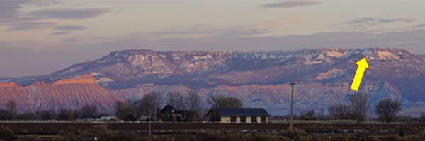 Grand Mesa & Mt. Garfield at Sunset - with the Swan hilghlighted