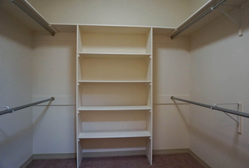 Master Closet with shelving & double closet rods