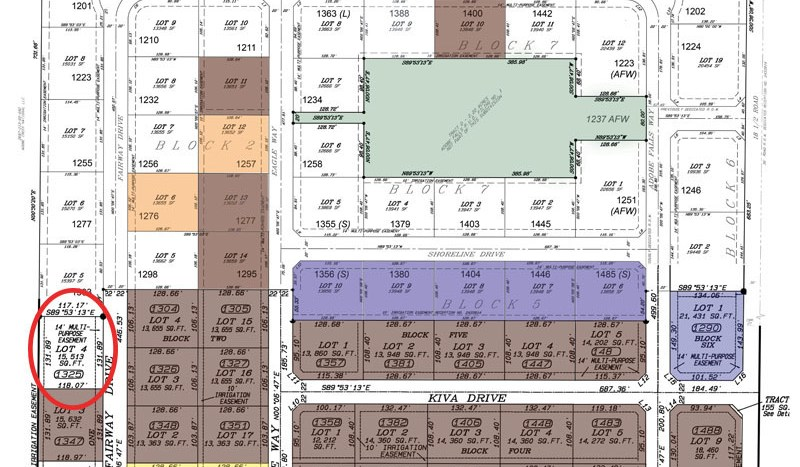 Full plat map of Adobe Falls Subdivision with 1325 Fairway Drive circled for reference.