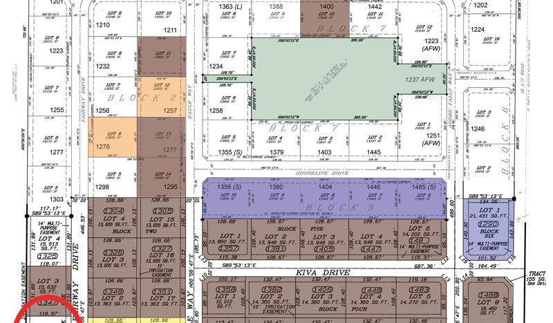 Plat map of Adobe Falls Subdivision showing the location of 1369 Fairway Drive