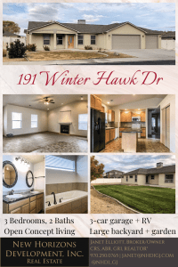 191 Winter Hawk Dr. is a 3 bedroom 2 bath home in Hawks Nest in Grand Junction CO. 3-car garage + RV parking, open concept living area, and master suite with a 5-piece ensuite.