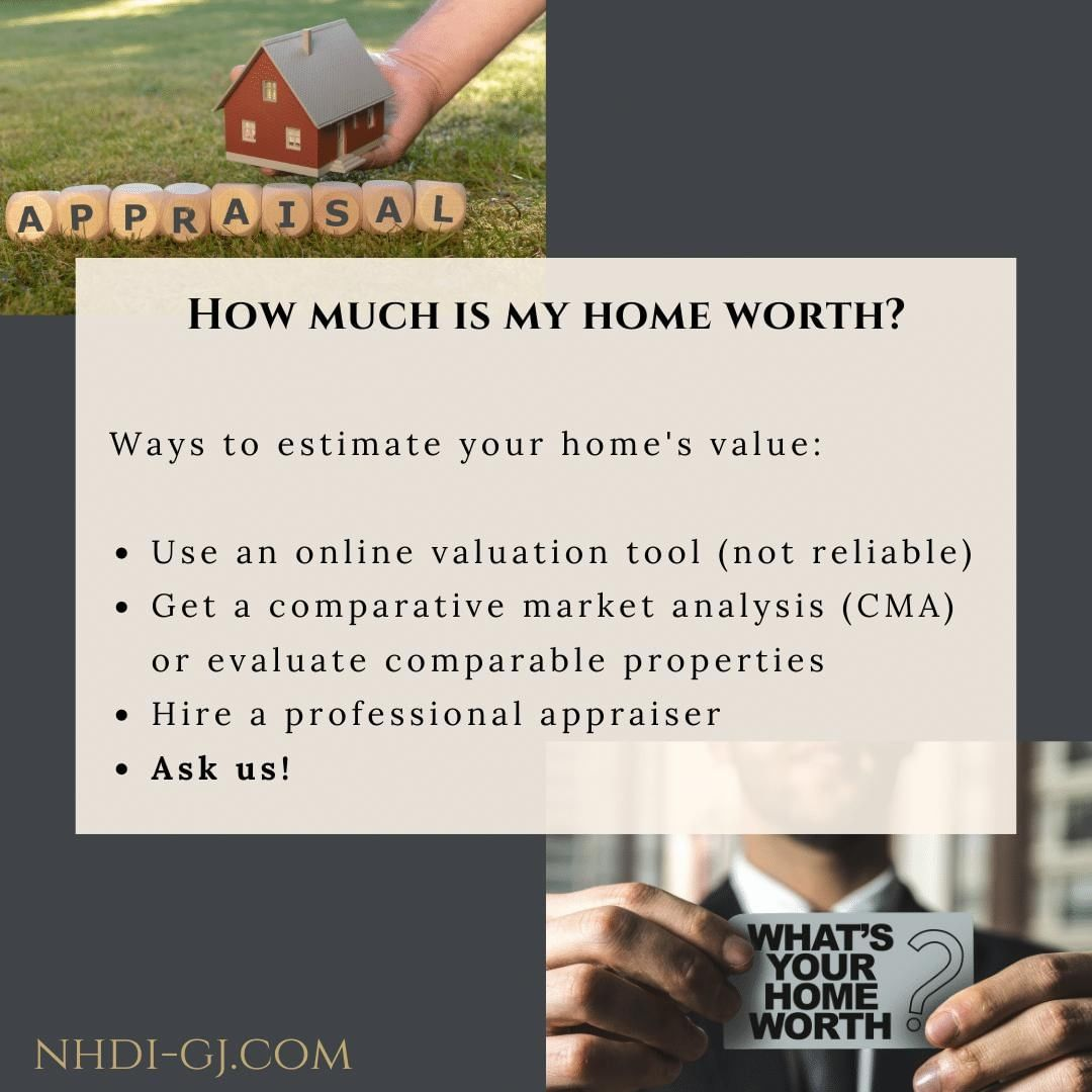 Home Sellers 101 – How can you figure out how much your home may be worth in today's market? ⁣ ⁣ There are a variety of ways, some that work well, and some that don't work as well. You can go online & let a computer crunch some numbers – without knowing anything about the properties that it's using, you can hire an appraiser to give you an estimate of valuation, or you can call us! ⁣ ⁣ As REALTORS®, it is our job to know about our local market. We can take a look at your property, look at other comparable properties nearby that have sold recently, and help you determine a good price to list your home at. It all starts with a phone call or email.⁣ ⁣ We hope to hear from you soon!⁣ ⁣ 𝐉𝐚𝐧𝐞𝐭 – 𝟐𝟓𝟎-𝟎𝟕𝟔𝟓⁣ 𝐉𝐞𝐧𝐧𝐢𝐟𝐞𝐫 – 𝟗𝟖𝟓-𝟗𝟒𝟑𝟐⁣ ⁣ 𝐍𝐞𝐰 𝐇𝐨𝐫𝐢𝐳𝐨𝐧𝐬 𝐃𝐞𝐯𝐞𝐥𝐨𝐩𝐦𝐞𝐧𝐭, 𝐈𝐧𝐜.⁣ 𝟗𝟕𝟎-𝟐𝟒𝟓-𝟗𝟒𝟑𝟒 |  𝘐𝘯𝘧𝘰@𝘕𝘏𝘋𝘐𝘎𝘑.𝘤𝘰𝘮