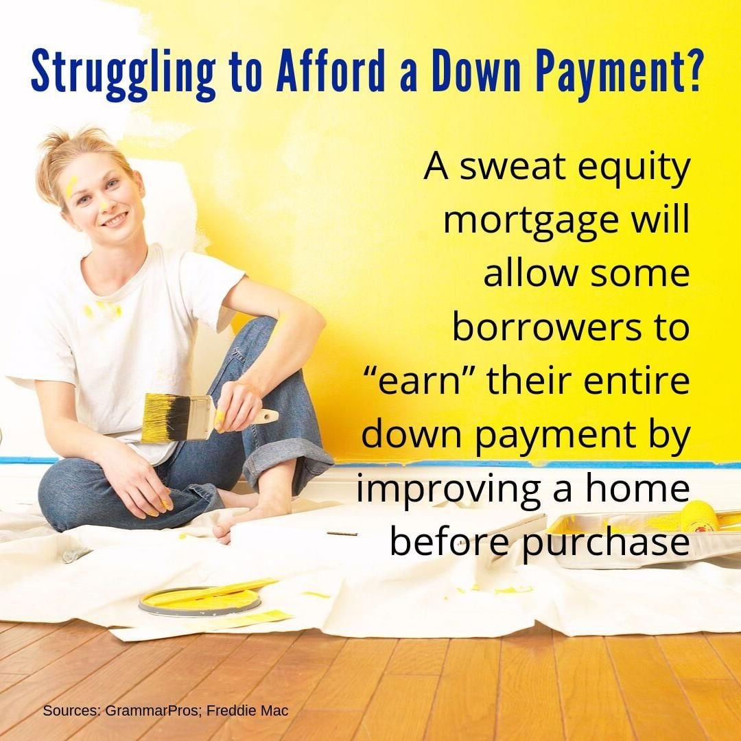 Worried you can't save enough for a 20% down payment? You may not have to.   Sweat equity can be a great way to make a home more affordable! We have done this in the past, and it really does help!  Let's chat about the numerous options available. Together, we can do this!