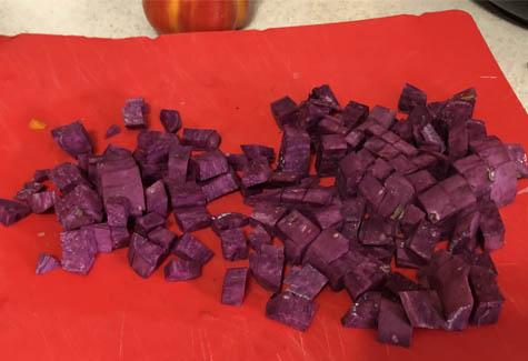 Chopped purple yam.