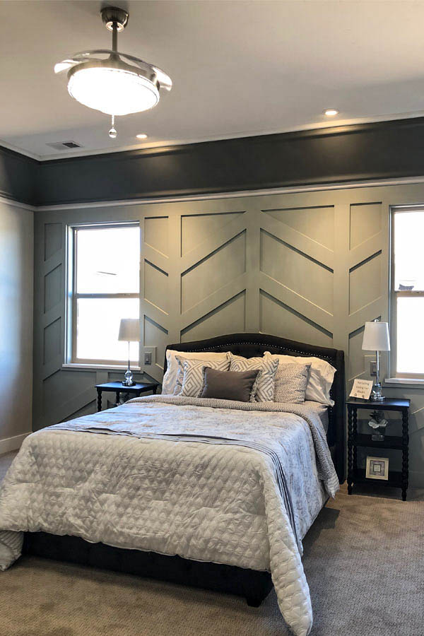 Wow Wednesday - paneled bedroom in the K Brother's home in Adobe Falls from the 2019 GJ Parade of Homes.