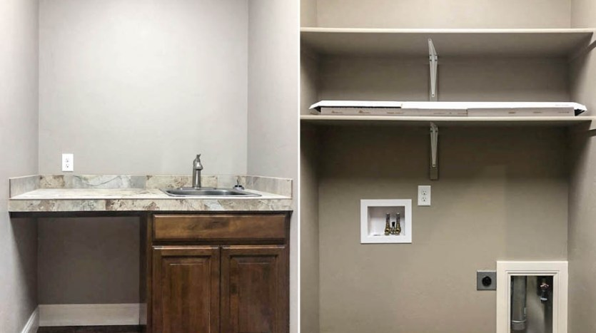 The laundry room of 1329 Niblick Way has a tiled folding table with a utility sink and cabinet, as well as high shelves over the washer/dryer area.