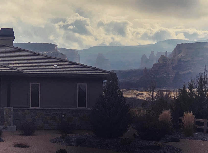 View of Independence Rock on the Colorado National Monument from the front bedroom of 1329 Niblick Way, Fruita.