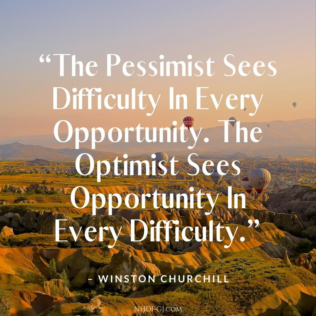 """The pessimist sees difficulty in every opportunity. The optimist sees opportunity in every difficulty."" – Winston Churchill⁣ ⁣ Which do you fall under? We often need to remind ourselves to watch for opportunities. If we focus on opportunity, we are more likely to see it around us."