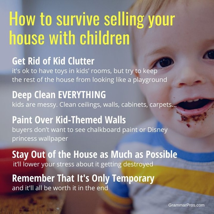 "Keeping your home show-ready is no easy task when you live with children. If you're considering selling, contact me and together we'll make it as easy as possible. ⁣ ⁣ For more tips, check out our article ""6 Tips for Moving With Children""⁣ ⁣ ⁣ #movingwithkids #movingwithchildren #sellingyourhome #sellingyourhometips #sellingprocess #homeselling #homesellers #homesellertips #grammarpros #realestateadvice #newhome #househunting #homeseller #homebuyer #realestatetips #newhomebuyer #homeselling101 #newhomeshopping"