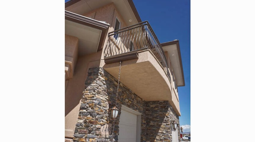 The private balcony off of the master suite as seen from below.