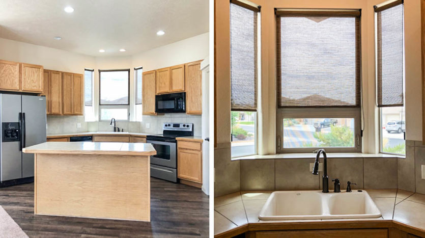 The bay window and island in the kitchen of 170 Sun Hawk Drive