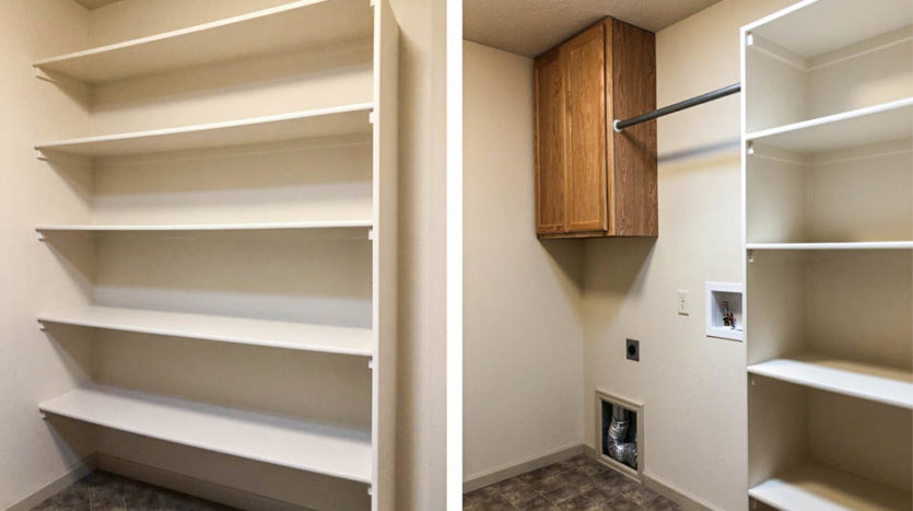 The laundry room of 170 Sun Hawk has two linen shelving areas, a cabinet, and hanging bar along with space for your full sized washer & dryer.