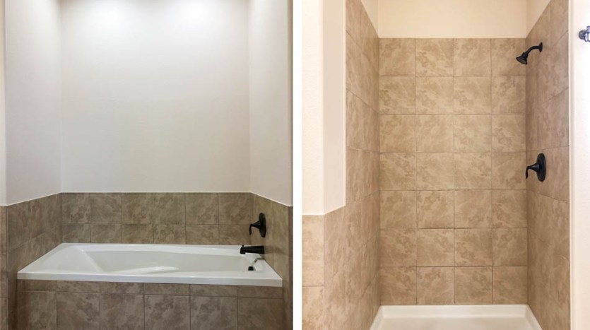 The tub & step=in shower in 170 Sun Hawk Drive's master bathroom