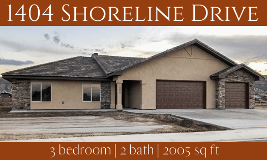 1404 Shoreline Drive, Fruita is a 3 bedroom, 2 bath home in Adobe Falls Subdivision.