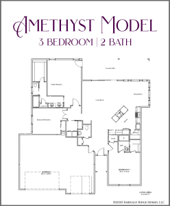 Amethyst model - a 3 bedroom, 2 bath home in Emerald Ridge Estates with a 3 car garage, and split bedrooms.
