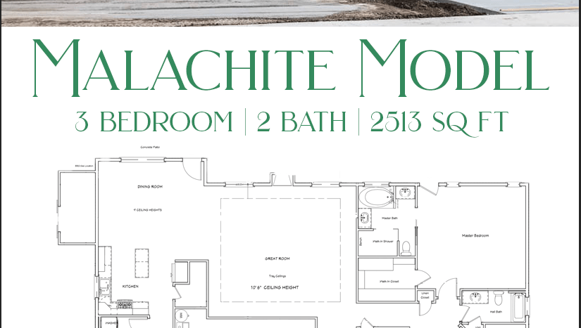 The Malachite is a 2513 square foot 3 bedroom, 2 bath home with an attached storage shed.