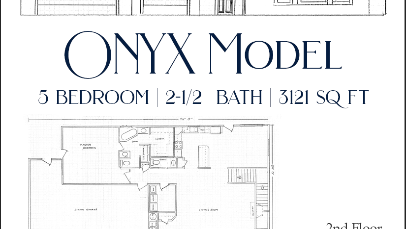 The Onyx is a 5 bedroom, 2½ bath 2-story home in Emerald Ridge Estates. There are 4 bedrooms, a dual room bathroom, and family room upstairs. The master suite is on the main level, and includes a walk-in closet, dual vanities, soaking tub, walk-in shower, and semi private toilet room. It has access to a private patio as well.