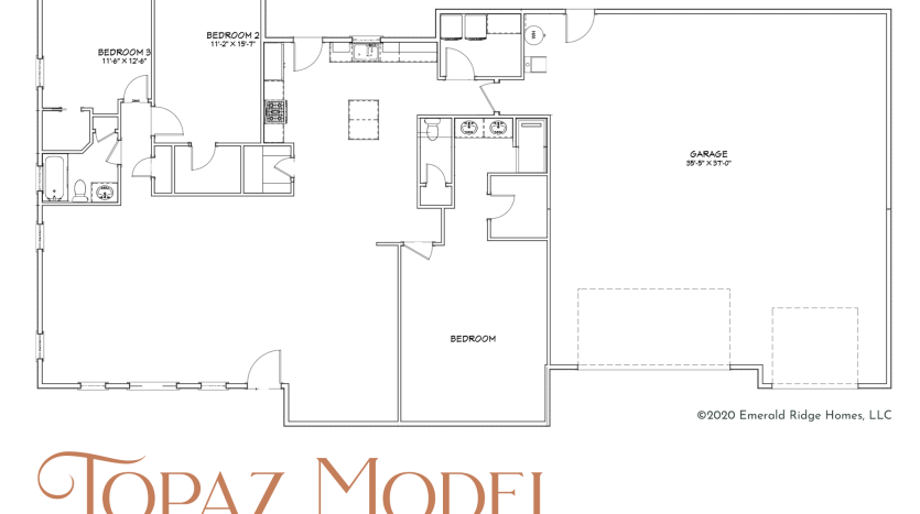 The Topaz Model includes a built-in RV garage, alongside a 2-car bay. It has 3 bedrooms and 2 baths in a split bedroom design with an open living area.