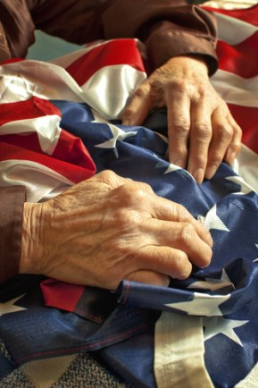 American flag on hands