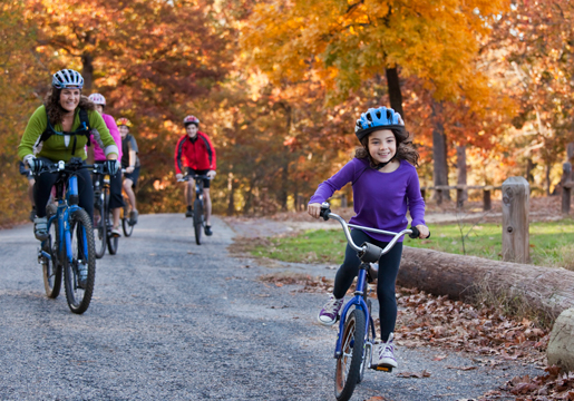 Line of adults and kids on bikes