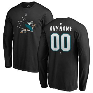 Men's San Jose Sharks Fanatics Branded Black Personalized Team Authentic Long Sleeve T-Shirt