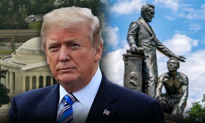 """President Trump announced Friday that he signed an executive order to protect American monuments, memorials and statues and threatened those who try to pull them down with """"long prison time."""" """"I just had the privilege of signing a very strong Executive Order protecting American Monuments, Memorials, and Statues - and combatting recent Criminal Violence,"""" Trump tweeted. """"Long prison terms for these lawless acts against our Great Country!"""" The new order enforces laws prohibiting the desecration of public monuments, the vandalism of government property, and recent acts of violence, withholds federal support tied to public spaces from state and local governments that have failed to protect public monuments, and withdraws federal grants for jurisdictions and law enforcement agencies that fail to stop their desecration. It also provides assistance for protecting the federal statues. Meanwhile on Friday evening, Attorney General Bill Barr directed the creation of a task force to counter anti-government extremists, specifically naming those who support the far-right """"boogaloo"""" movement and those who identify as Antifa. The task force will be headed by Craig Carpenito, the U.S. Attorney for the District of New Jersey, and Erin Nealy Cox, U.S. Attorney for the district of Northern Texas, and will be composed of U.S. Attorneys' Offices, the FBI and other relevant departments, according to a press release. The group will share information with local and state law enforcement and will provide training on identifying anti-government extremists, according to an internal Justice Department memo. The president has been teasing his order related to memorials all week, as historic monuments and statues have become the targets of anger and vandalism during Black Lives Matter protests in the wake of George Floyd's police custody death in Minneapolis at the end of May. DC'S CONGRESSIONAL DELEGATE WANTS 'PROBLEMATIC' LINCOLN STATUE REMOVED FROM LINCOLN PARK placeholder The initial statues"""