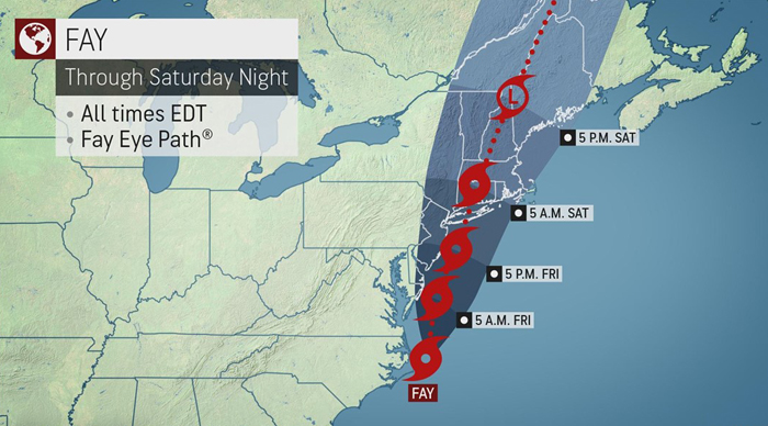 Tropical Storm Fay brings rain, flooding to mid-Atlantic and parts of New England
