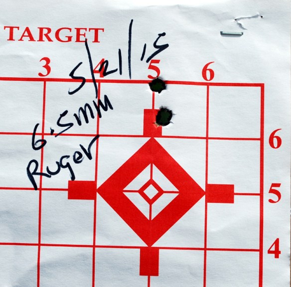 Ruger Hawkeye Pred 6.5 Creedmoor 2nd 3s group 100 yds .625 in. aft bbl scrub