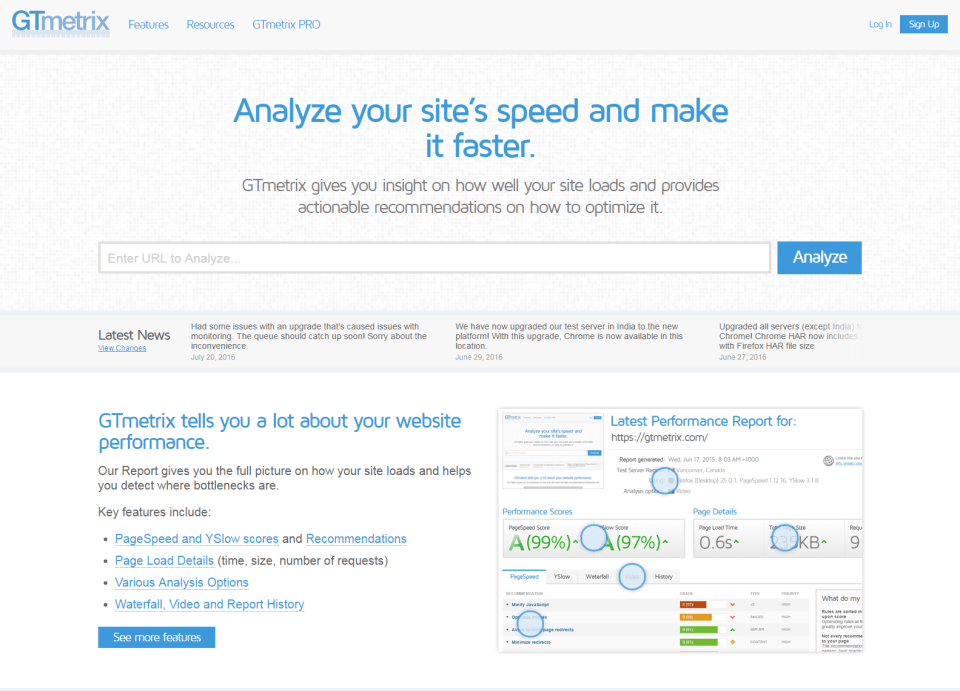 GTmetrix Website Speed and Performance Optimization