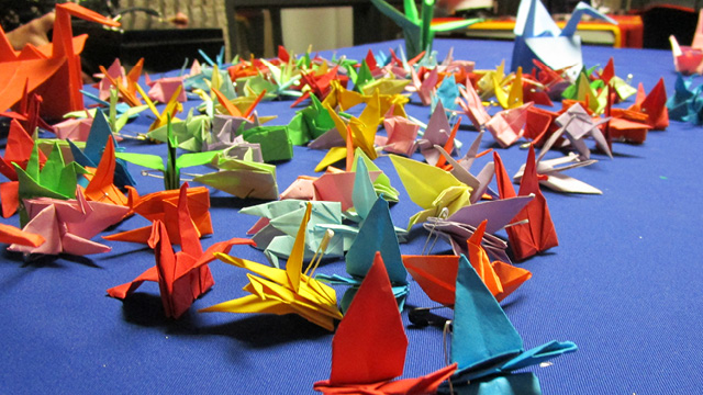 Paper cranes created by Liberty students to benefit Casey House.