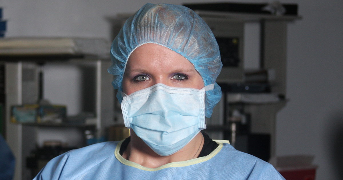 Healthcare professional wearing surgical mask