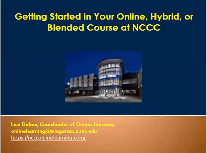 Getting Started in Your Online, Hybrid, or Blended Course at NCCC
