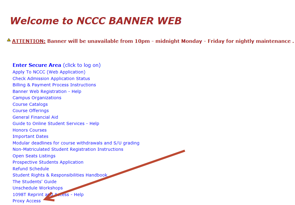 Welcome to Banner Web screen