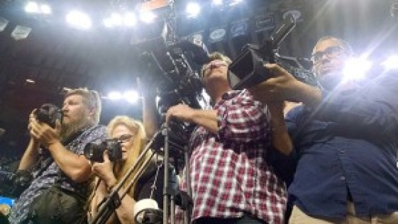 The media covering the protest