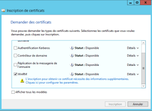 Select certificate template