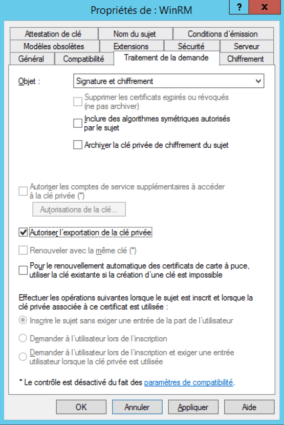 Manage Workgroup Workstation Allow export key