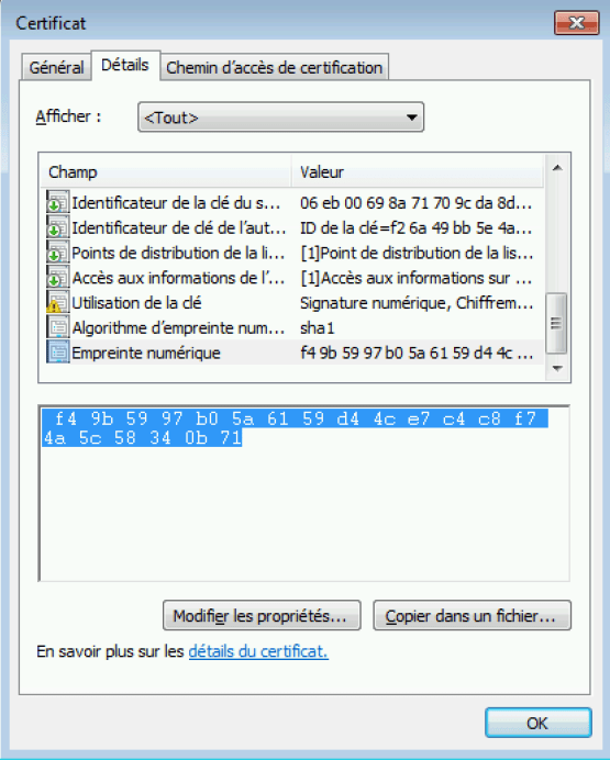Access to certificate properties