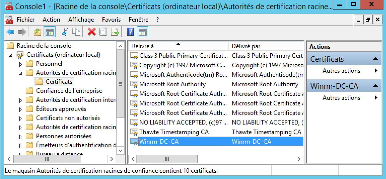 Configure Subscriptions Events Access to the certificate