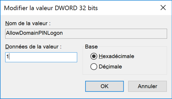 cannot activate Windows Hello Add Dword