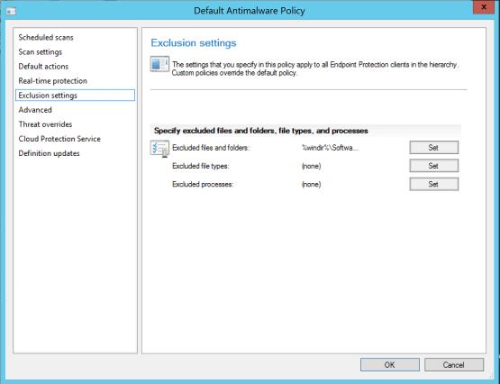 Configure antivirus exceptions for SCCM Configure exclusions