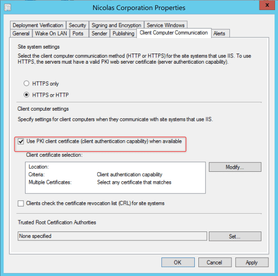 Enable https on SCCM