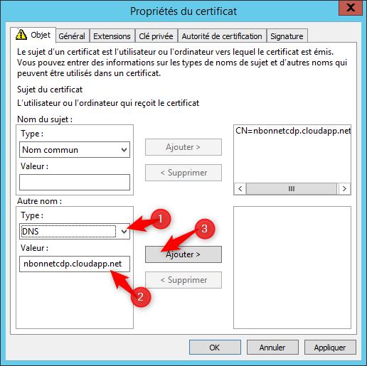 Configure request certificate