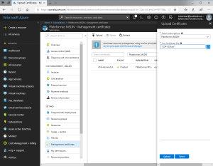 Upload certificate on Azure