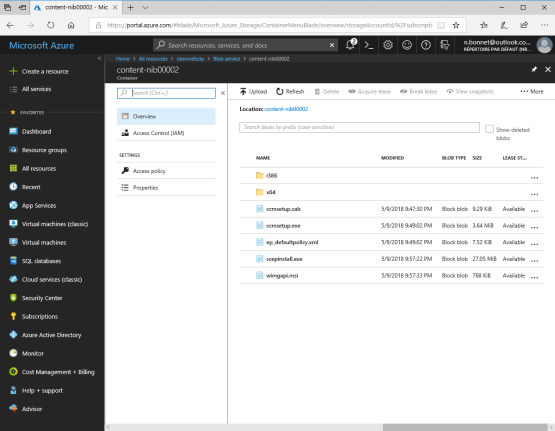 Content on Azure for Distribution Point