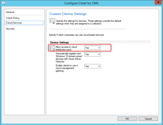 Parameters on SCCM for Cloud Distribution Point