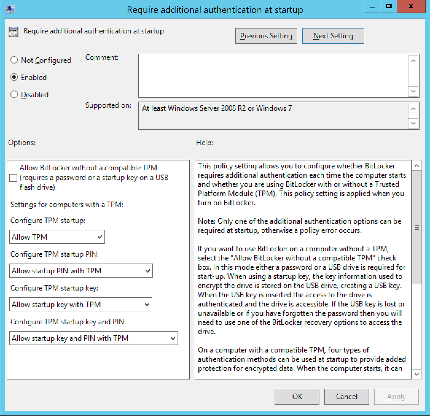 Secure your desktop with Bitlocker  Require additional authentification
