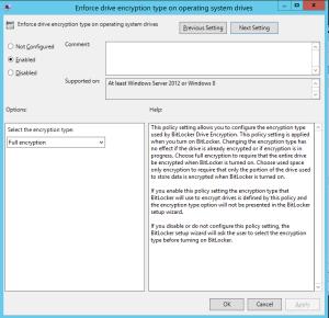 Enforce drive encryption type