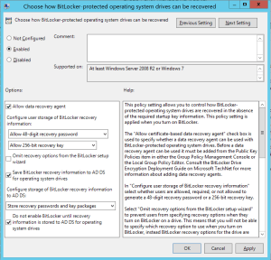 Choose how Bitlocker protected operating system