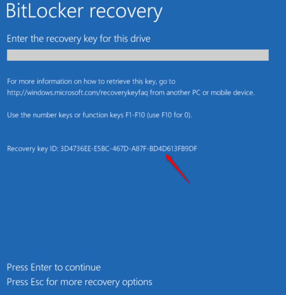 Secure your desktop with Bitlocker Recovery key ID